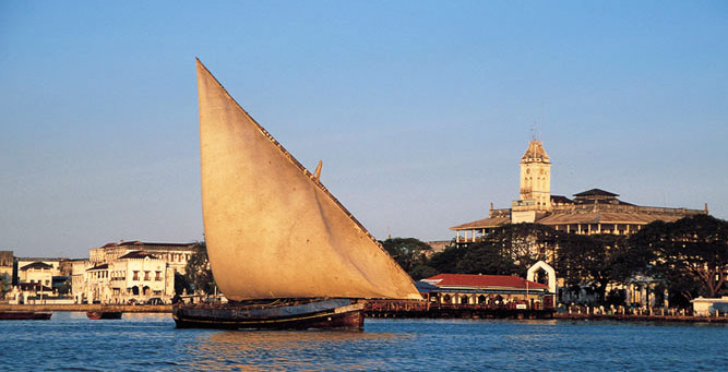 History, Culture & Cuisine - a dhow off the coast of Stone Town