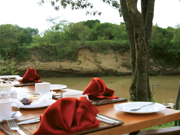 Private Nakuru & Mara Adventure - Riverside dining