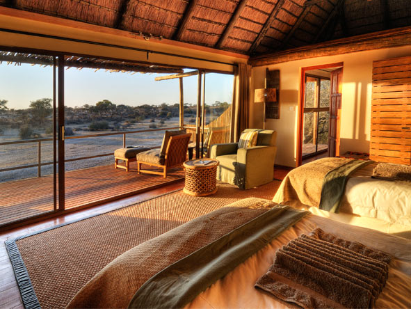 Overlooking a Kalahari river, Leroo La Tau is well placed for Botswana's summer zebra migrations.