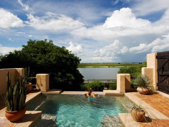 A private suite at Chobe Game Lodge has its own plunge pool which overlooks the Chobe River itself.