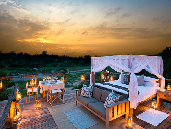 Lion Sands tree houses enjoy stunning sunset views but wait until the stars come out!