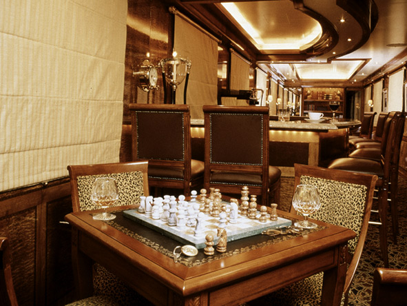 An after-dinner drink could turn into a game of chess in the train's lounge - after all, you have the time!