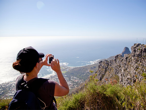 Donyale MacKrill - admiring the spectacular sea views from Table Mountain.