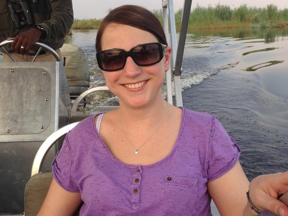 Tracy Payne - soaking up the wilderness on a boat safari in the Okavango Delta, Botswana.