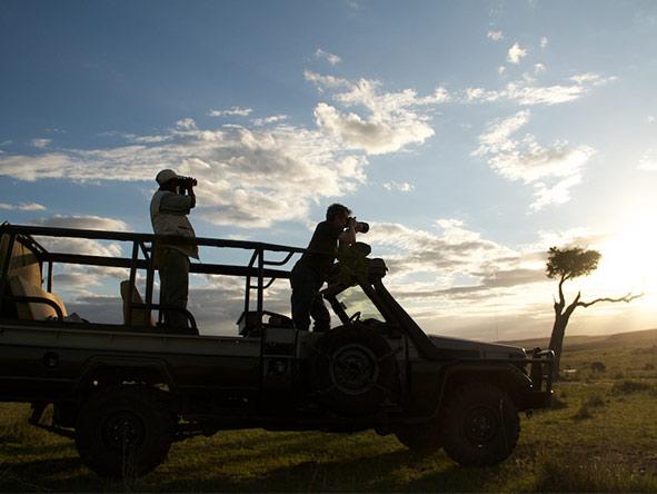 Serian Nkorombo Camp - Open-side safari vehicles