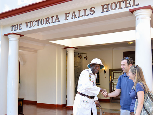 Guests arriving at The Victoria Falls Hotel