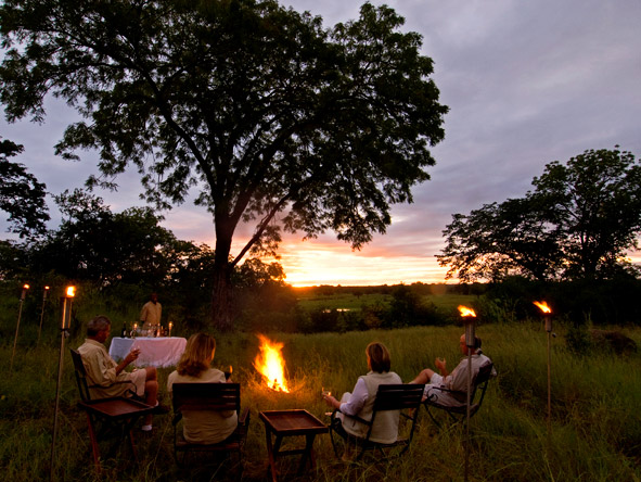 Three Sanctuaries Safari in Zambia - campfire
