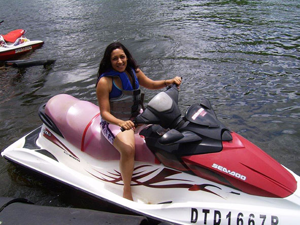Gillian on a jet ski