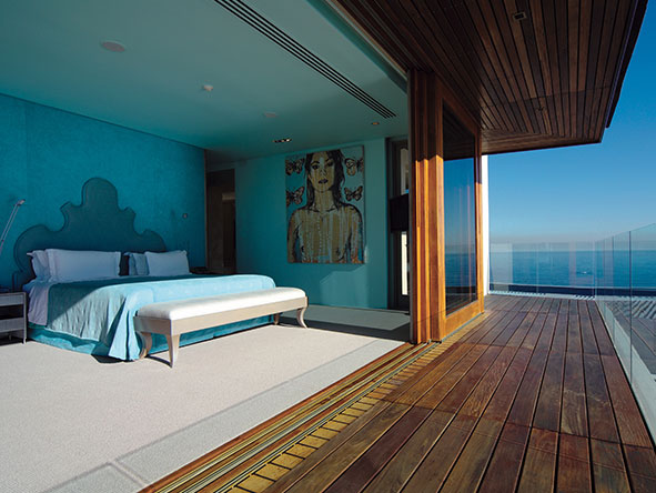 The eye-catching Aqua Room is one of five bedrooms offered at Ellerman's sumptuous Villa One.