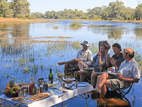 Enjoy great food in wonderful locations, even if it means getting your feet wet!