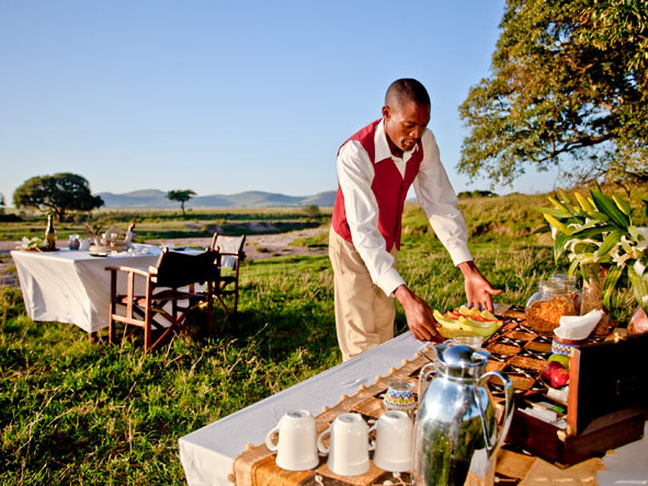 Expect wonderful cuisine at a Safari Collection property though your dining venue may be somewhat unsual!