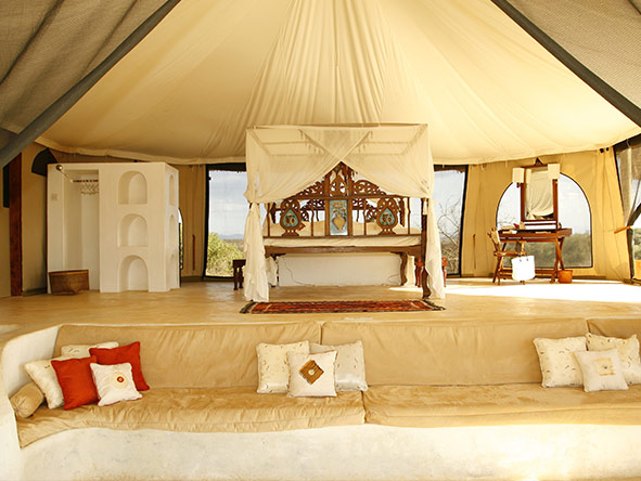Complete with private pool, Sasaab's Moroccan-styled rooms offer unforgettable views of the Samburu landscape.