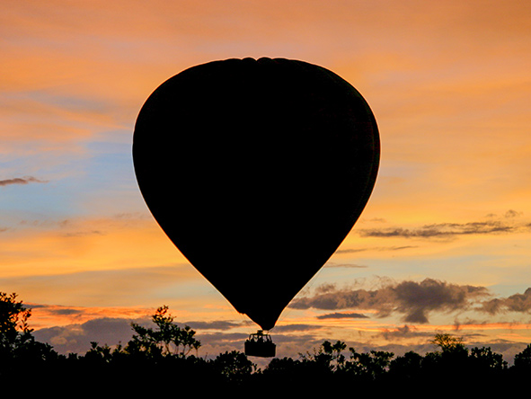 African balloon safaris begin early - this is at Kenya's Bateleur Camp.