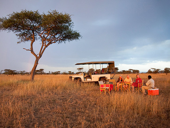 Late afternoon on an East Africa mobile safari - time for sundowner drinks.