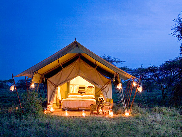 Your lamp-lit tented suite makes a welcome sight on your return from a day's game viewing.