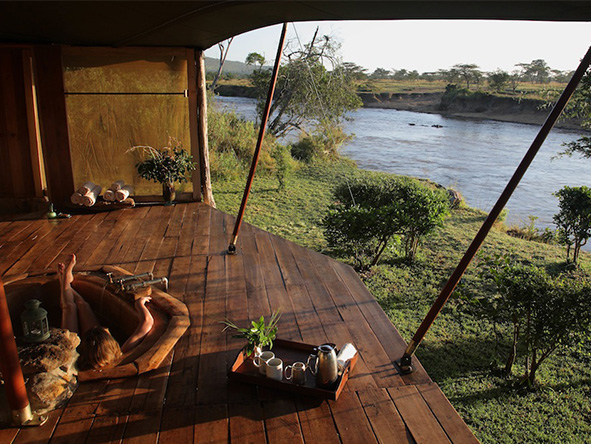 Accessed only by rope bridge, 4-tent Ngare Serian is the Masai Mara's most intimate & secluded camp.