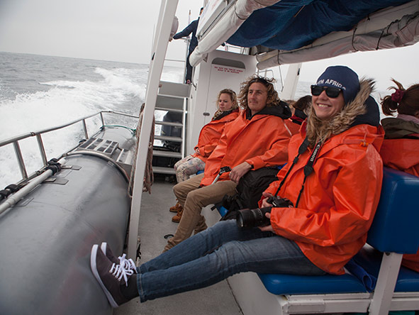 The boats used for whale-watching trips have special side-on seats for maximum views.