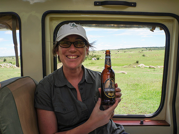 Bonita Cronje - beer in the Serengeti