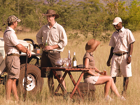 Zimbabwe safari - refreshments in the bush