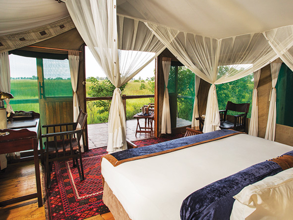 Duba Plains Camp, bedroom