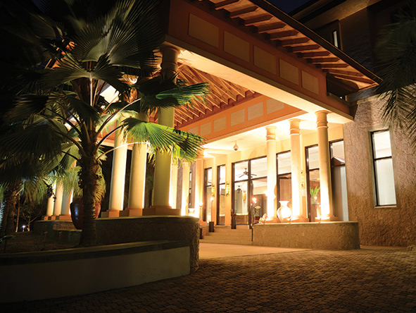 The lobby entrance at Allamanda Resort and Spa, Seychelles