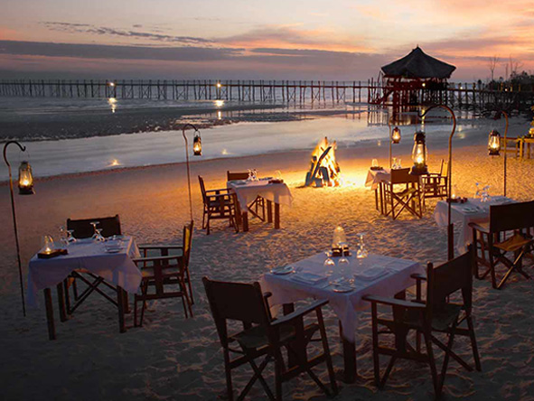 Zanzibar, romantic sunset dinner
