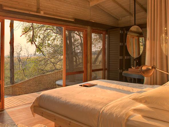 Bedroom suite at Sandibe Okavango Safari Lodge,