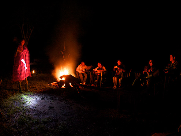 Maasai culture at night, Dunia Camp