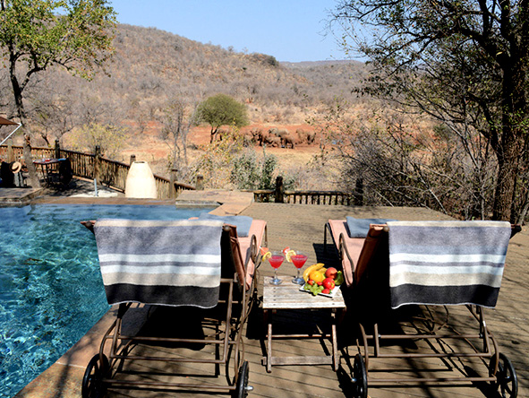Etali Safari Lodge, private deck and swimming pool