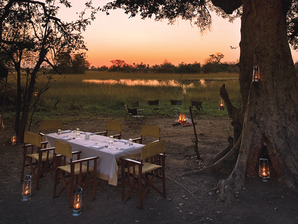 Okavango Delta, dinner by candlelight