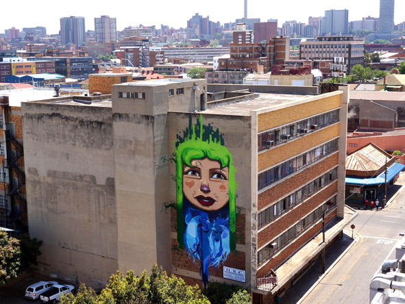 The Falko mural graces the Johannesburg skyline.