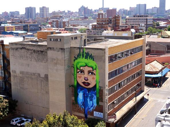The Falko mural graces the Johannesburg skyline.