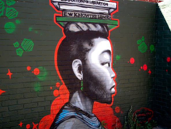 This artwork is typical of the street art found in Newtown.