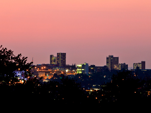 The Joburg skyline.