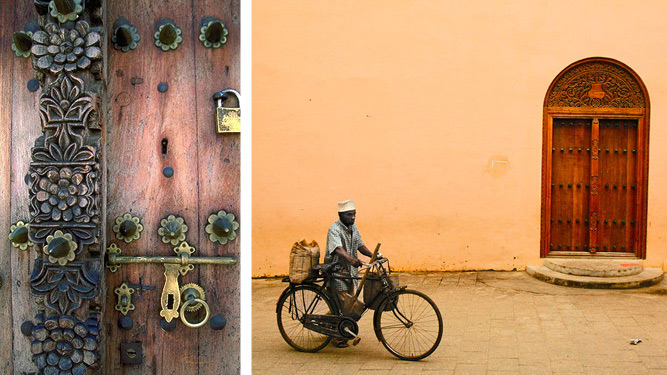Exploring Stone Town - door & cyclist