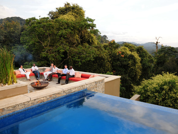 Nyungwe Forest Lodge, pool and outdoor fire