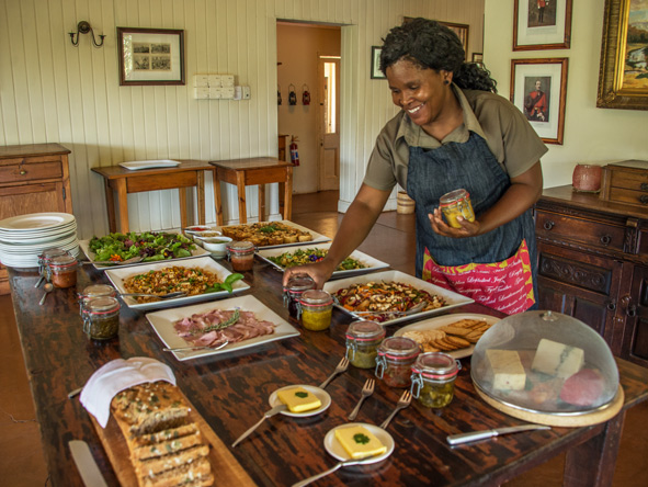 Three Tree Hill Lodge, spread of local food