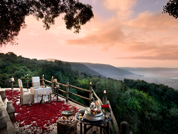 Ngorongoro Crater Lodge, romantic dinner