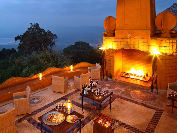 Ngorongoro Crater Lodge, terrace