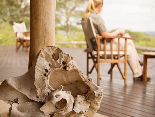 Sitting on the outdoor deck, Tanzania, Safari
