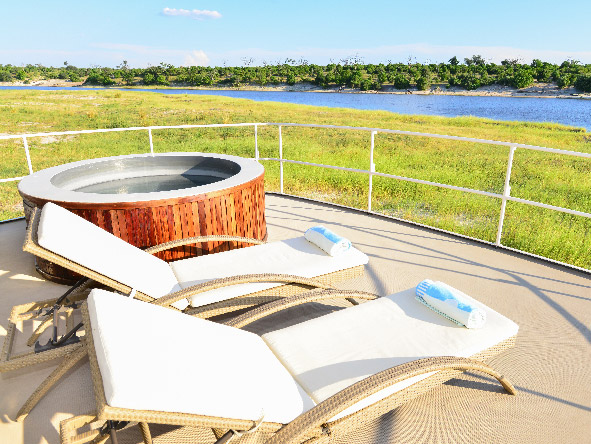 loungers and jacuzzi on boat