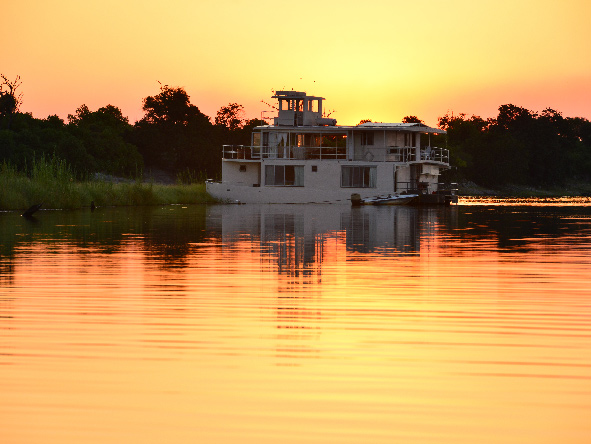 Orange sunset over the Chobe River