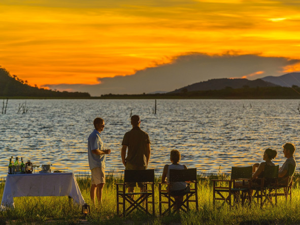 sundowners on lake kariba shore