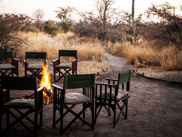 Camp fire, Botswana safari