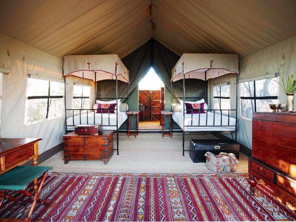 Camp Kalahari, twin bed tent