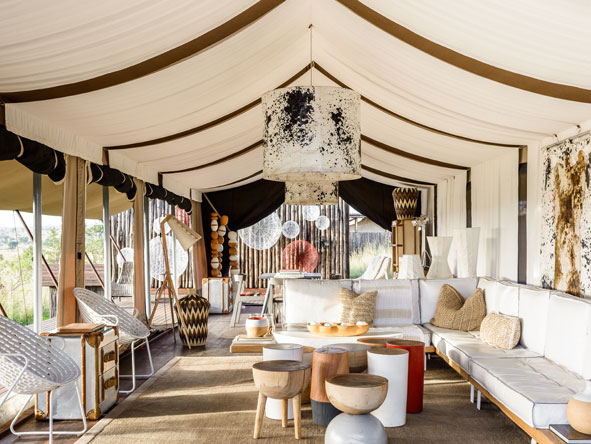 elegant lounge at Singita Mara