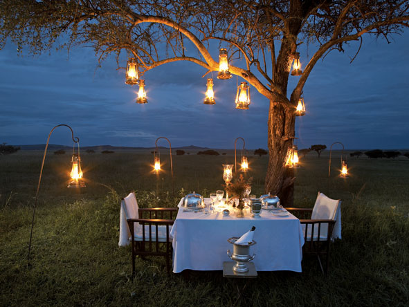 romantic safari dinner, singita