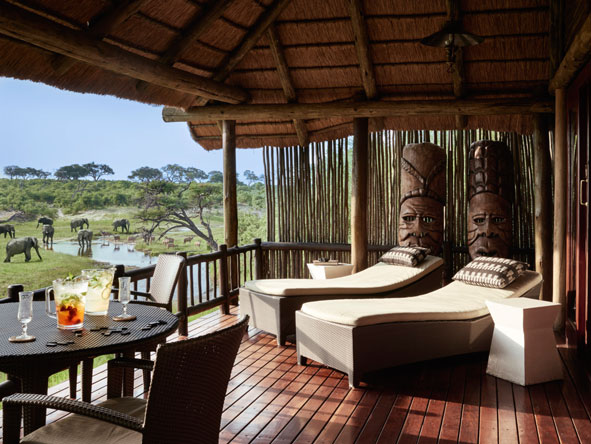 Private deck at Belmond Savute Elephant Lodge