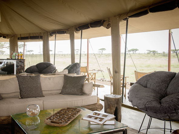 lounge at Namiri Plains tented camp