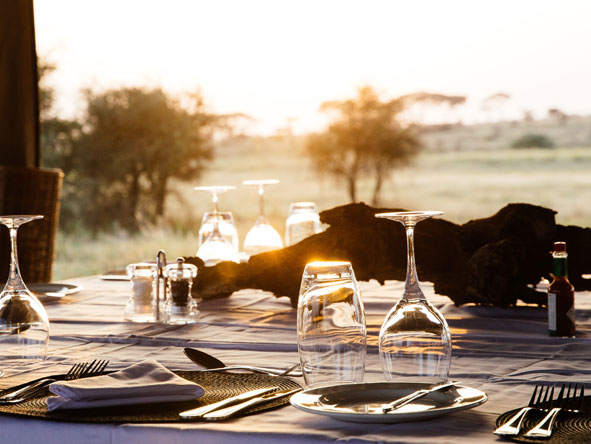 Dining at Namiri Plains Camp